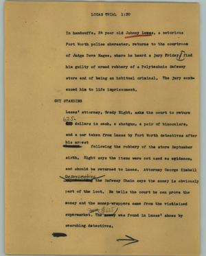 Primary view of object titled '[News Script: Lucas trial]'.