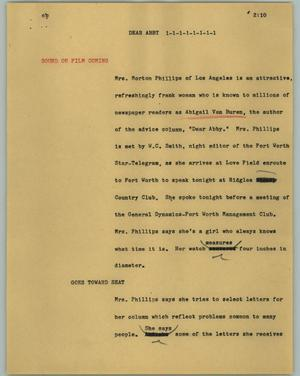 Primary view of object titled '[News Script: Dear Abby]'.