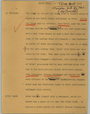 Primary view of object titled '[News Script: Estes trial]'.