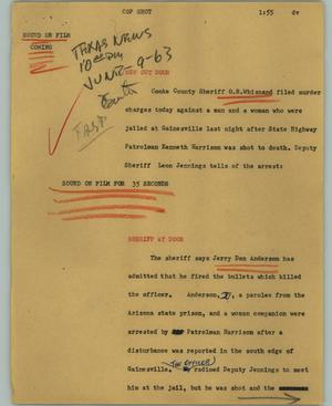 Primary view of object titled '[News Script: Cop shot]'.