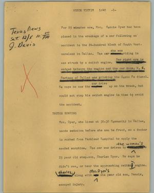 Primary view of object titled '[News Script: Wreck victim]'.