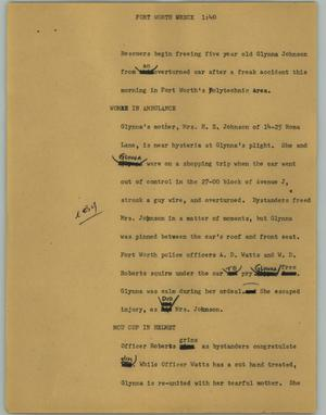 Primary view of object titled '[News Script: Forth Worth wreck]'.