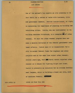 Primary view of object titled '[News Script: Chamber meeting]'.