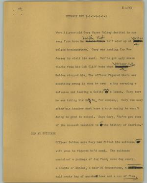 Primary view of object titled '[News Script: Runaway boy]'.
