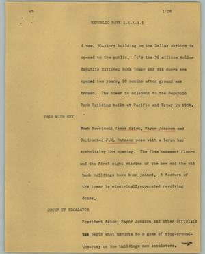 Primary view of object titled '[News Script: Republic Banks]'.