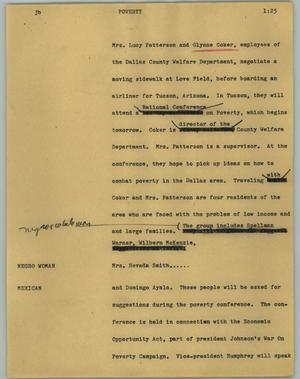 Primary view of object titled '[News Script: Poverty]'.