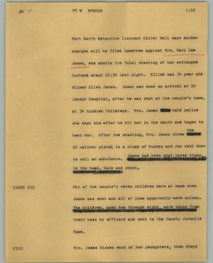 Primary view of object titled '[News Script: Ft W murder]'.