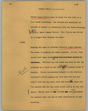 Primary view of object titled '[News Script: Farris trial]'.