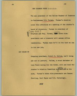 Primary view of object titled '[News Script: New Chamber Prexy]'.