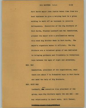 Primary view of object titled '[News Script: Big brother]'.