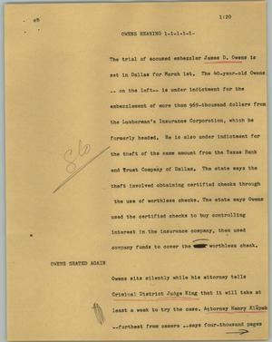 Primary view of object titled '[News Script: Owens hearing]'.