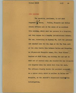 Primary view of object titled '[News Script: Dallas wreck]'.