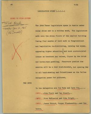 Primary view of object titled '[News Script: Legislature opens]'.