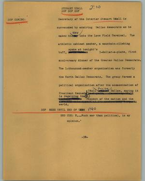 Primary view of object titled '[News Script: Stewart Udall]'.