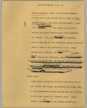 Primary view of object titled '[News Script: Majestic Theater]'.