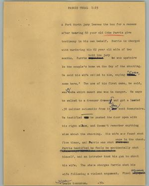 Primary view of object titled '[News Script: Parris trual]'.