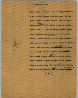 Primary view of object titled '[News Script: Dallas safe]'.