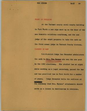 Primary view of object titled '[News Script: New judges]'.