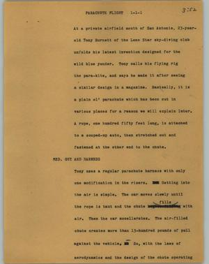 Primary view of object titled '[News Script: Parachute Flight]'.