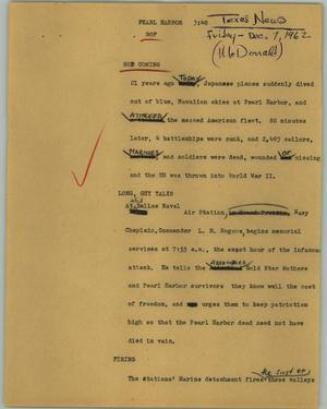Primary view of object titled '[News Script: Pearl Harbor]'.