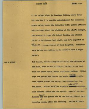 Primary view of object titled '[News Script: Colony Club]'.