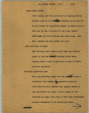 Primary view of object titled '[News Script: LBJ Chance Vought]'.