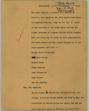 Primary view of object titled '[News Script: Legislature]'.