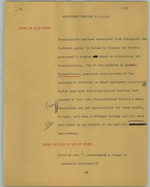 Primary view of object titled '[News Script: Employment meeting]'.