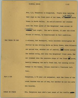 Primary view of object titled '[News Script: Darnell wreck]'.