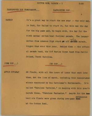 Primary view of object titled '[News Script: Cotton Bowl Parade]'.