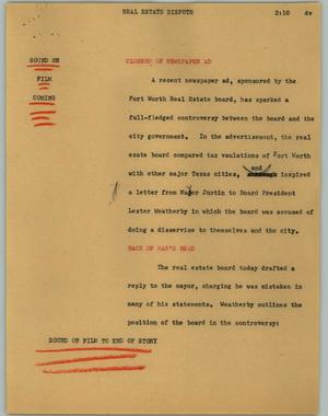Primary view of object titled '[News Script: Real estate dispute]'.