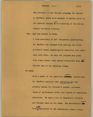 Primary view of object titled '[News Script: Telstar]'.
