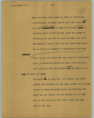 Primary view of object titled '[News Script: Union bank]'.
