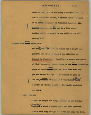 Primary view of object titled '[News Script: Infant found]'.