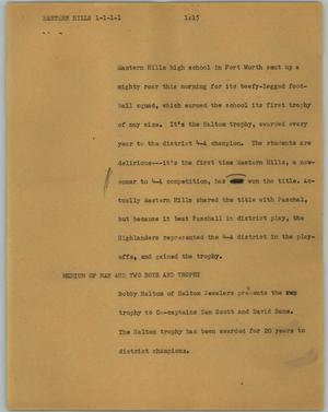 Primary view of object titled '[News Script: Eastland Hills]'.