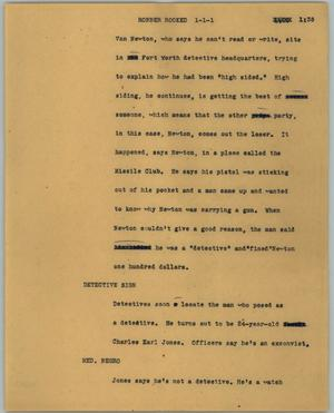 Primary view of object titled '[News Script: Robber rooked]'.