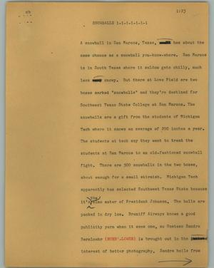 Primary view of object titled '[News Script: Snowballs]'.