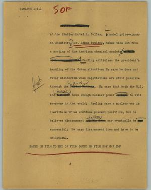 Primary view of object titled '[News Script: Pauling]'.