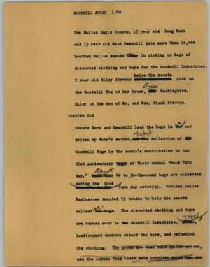 Primary view of object titled '[News Script: Goodwill story]'.