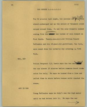 Primary view of object titled '[News Script: Car rescue]'.