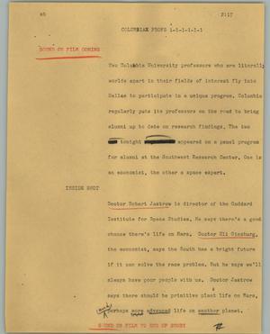 Primary view of object titled '[News Script: Columbia profs]'.