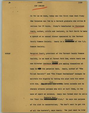 Primary view of object titled '[News Script: Amory]'.