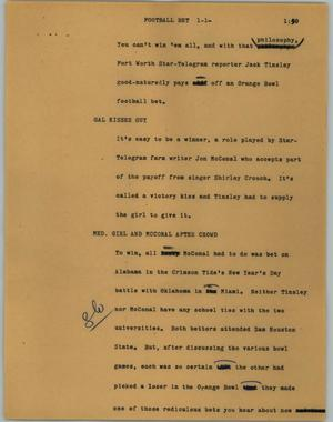 Primary view of object titled '[News Script: Football bet]'.