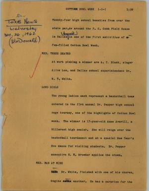 Primary view of object titled '[News Script: Cotton Bowl Week]'.