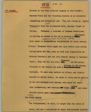 Primary view of object titled '[News Script: Afrique]'.