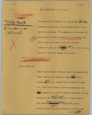 Primary view of object titled '[News Script: Dog quarantine]'.