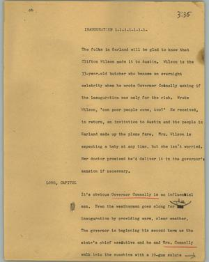 Primary view of object titled '[News Script: Inauguration]'.