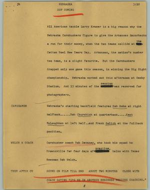 Primary view of object titled '[News Script: Nebraska]'.