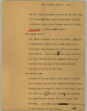 Primary view of object titled '[News Script: Miss Teenage America]'.