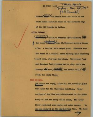 Primary view of object titled '[News Script: DG Fire]'.